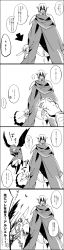 ashiya_shirou character_request cloak comic hataraku_maou-sama! highres karasuneko1313 lucifer_(hataraku_maou-sama!) monochrome short_hair translation_request