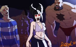 1girl 3boys abs alternate_costume animated animated_gif bags_under_eyes bite_mark blonde_hair blood breasts casual chest_hair cody_travers dancing deejay diepod drill_hair han_juri lowres medium_breasts mohawk multiple_boys muscle prison_clothes red_eyes shirtless short_hair solo_focus street_fighter street_fighter_iv super_street_fighter_iv twin_drills vampire zangief
