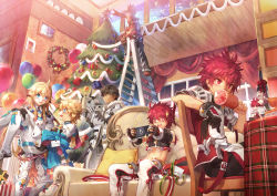 6+boys armor balloon bandage bell black_hair blonde_hair blue_eyes blush boned_meat candy candy_cane carrying character_doll christmas christmas_tree chung coat couch dual_persona eating elsword elsword_(character) fingerless_gloves food gift gloves happy highres ladder long_hair male meat messy_hair midriff multiple_boys pants pillow princess_carry raven_(elsword) red_eyes red_hair scorpion5050 single_glove smile spikes surprised video_game wine_bottle wreath yellow_eyes
