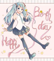1girl :d aqua_eyes aqua_hair aqua_necktie bare_shoulders black_skirt blush boots border breasts collared_shirt detached_sleeves english flower full_body happy_birthday hatsune_miku head_tilt hear highres holding holding_flower long_hair long_sleeves mononofu44 necktie open_mouth outstretched_arm pink_background pink_ribbon pleated_skirt ribbon shirt skirt sleeveless sleeveless_shirt small_breasts smile solo thigh_boots thighhighs twintails vocaloid white_shirt wing_collar