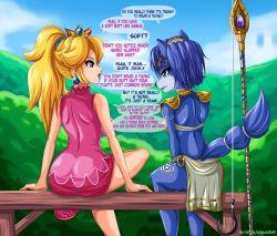 2girls blonde_hair blue_eyes blue_hair blue_skin crown furry green_eyes highres hook jewelry krystal mario_(series) multiple_girls princess_peach sigurd_hosenfeld star_fox super_mario_bros.