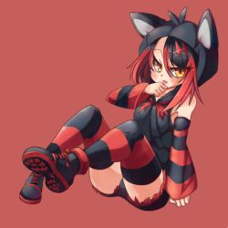 1girl animal_hood black_hair borokuro cat_hood highres hood licking litten litten_(pokemon) looking_at_viewer multicolored_hair personification pokemon pokemon_(creature) red_background red_hair shoes short_hair sitting sneakers solo striped striped_legwear thighhighs tongue tongue_out