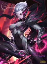 1girl alternate_costume alternate_hair_color alternate_hairstyle bodysuit citemer cyborg fiora_laurent grey_hair league_of_legends looking_at_viewer power_armor solo