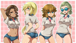 4girls ass blonde_hair blush breasts brown_eyes brown_hair dark_skin dylan_keith genderswap glasses goggles green_eyes highres inazuma_eleven inazuma_eleven_(series) long_hair looking_back mark_kruger michael_jacks multiple_girls navel open_mouth ponytail sean_pierce short_hair smile soccer_uniform sportswear sweat