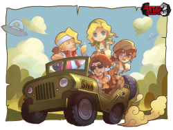 2boys 2girls :d alcohol alien backpack bag bandanna beer blonde_hair blue_eyes bread brown_eyes brown_hair chibi cigarette closed_mouth cloud copyright_name drink driving eyes_closed fio_germi food glasses ground_vehicle hat head_scarf headband jeep kalata kasamoto_eri looking_at_viewer marco_rossi metal_slug military military_vehicle motor_vehicle mouth_hold multiple_boys multiple_girls open_mouth ponytail short_sleeves shorts sitting sky smile smoking sunglasses tarma_roving tied_hair ufo vehicle vest