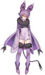 cape covered_navel katagiri_hachigou lavender_hair noibat personification pokemon thighhighs yellow_eyes