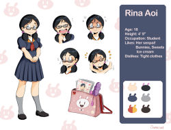 /\/\/\ 1girl :t artist_name bag black_hair blush character_age character_name character_sheet color_guide commentary dildo embarrassed english eyes_closed glasses kneehighs low_twintails magazine o_o open_mouth original pleated_skirt rina_aoi_(samasan) samasan school_uniform serafuku short_twintails skirt smile twintails vibrator wide-eyed x_arms