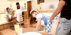 1girl animated animated_gif bent_over clothed_sex hetero looking_back multiple_boys panties_aside photo public_sex restaurant sex waitress