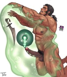 1boy abs bara body_hair drooling eggs erection facial_hair male_focus monster muscle nipples open_mouth original pecs penis restrained saliva scar slime tears testicles toto_(artist) urethral_insertion warrior weapon