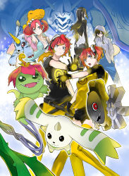 2boys 3girls agumon aiba_ami aiba_takumi backpack bag black_bra black_dress black_gloves black_hair black_legwear black_shirt black_skirt blue_dress blue_eyes blue_jumpsuit blue_scrunchie bra breasts butt_crack claws cleavage creature digimon digimon_story:_cyber_sleuth dress fanny_pack flower flower_on_head fur_trim gabumon gears gloves glowing glowing_eye goggles goggles_on_head grey_jacket hagurumon hoodie horns jewelry kamishiro_yuuko lace-trimmed_bra long_hair lying metal multiple_boys multiple_girls necklace official_art omegamon on_back on_head open_mouth palmon pantyhose pink_jacket plant polka_dot_scrunchie poster print_dress print_gloves print_jacket print_legwear print_shirt raglan_sleeves red_eyes red_hair sanada_arata shiramine_nokia side_ponytail sidelocks skirt small_breasts smile teeth terriermon thighhighs tongue twintails underwear yasuda_suzuhito yellow_legwear yellow_pants yellow_shirt