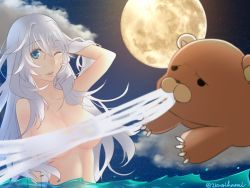 1girl artemis_(fate/grand_order) bear blue_eyes breasts fate/grand_order fate_(series) grey_hair lips long_hair moon navel nude one_eye_closed open_mouth orion_(fate/grand_order) water