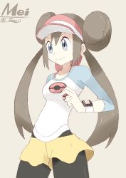1girl blue_eyes brown_hair double_bun mei_(pokemon) pantyhose poke_ball pokemon pokemon_(game) pokemon_bw2 raglan_sleeves skirt souji twintails visor_cap watch wristwatch