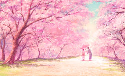 1boy 1girl black_hair cherry_blossoms cherry_trees commentary japanese_clothes kaitan kimono oriental_umbrella path petals road sasuke_(shunkinshou) short_hair shunkin shunkinshou sky spring_(season) tree umbrella walking yukata