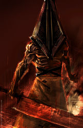 1boy helmet huge_weapon muscle nefar007 pyramid_head shirtless silent_hill_2 solo sword weapon