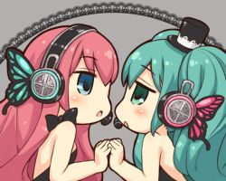 2girls aqua_eyes aqua_hair black_dress bow butterfly_hair_ornament butterfly_wings dress grey_background hair_ornament hat hatsune_miku headphones long_hair looking_at_another magnet_(vocaloid) megurine_luka mizuno_mumomo multiple_girls open_mouth pink_hair top_hat twintails vocaloid wings yuri