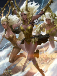 3girls antlers armor armored_dress blonde_hair boots breasts choker cleavage eyeshadow facial_mark flying gauntlets goddess high_heel_boots high_heels jewelry kilart knee_boots legend_of_the_cryptids leotard lips lipstick long_hair makeup medium_breasts multiple_girls necklace nose pauldrons polearm realistic red_eyes shield showgirl_skirt spear vambraces weapon