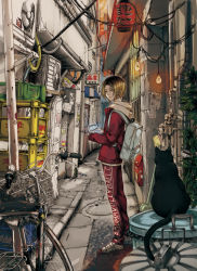 1boy air_conditioner alley animal banner beer_crate bicycle black_cat blonde_hair blurry bottle broom building cable cat city clothes_writing crack depth_of_field door drainpipe fan frown game_console ground_vehicle haikyuu!! hair_between_eyes holding jacket kozume_kenma lantern light_bulb looking_at_viewer mailbox male_focus manhole_cover midoripurin orange_sky outdoors pants paper_lantern plant pornography poster_(object) power_lines red_jacket red_pants road shoes sky sleeves_past_wrists stack standing street tape torn_paper trash_can twilight utility_pole wall white_shoes yellow_eyes