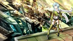 1girl anti-materiel_rifle aqua_eyes aqua_hair blue_eyes blue_hair fingerless_gloves gloves gun hair_ornament hairclip rifle scarf shinon_(sao) short_hair shorts sniper_rifle solo sword_art_online weapon