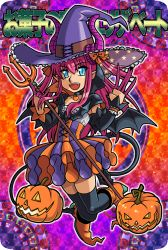 1girl asymmetrical_horns blue_eyes corset dragon_tail elizabeth_bathory_(halloween)_(fate) fate/extra fate/extra_ccc fate/grand_order fate_(series) halloween halloween_costume hat horns idol lancer_(fate/extra_ccc) long_hair looking_at_viewer open_mouth parody pink_hair plaid plaid_skirt pointy_ears pumpkin reki_00 shinrabanshou skirt smile solo style_parody tail thighhighs witch_hat