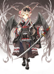 1girl black_gloves blonde_hair flower frills gloves hair_flower hair_ornament hair_stick hair_tubes horns katana left-handed long_hair low_twintails nekozuki_yuki original patterned_legwear pointy_ears skirt solo sword twintails weapon wide_sleeves wings yellow_eyes