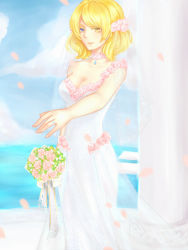 1girl blonde_hair blue_eyes bouquet breasts bridal_veil cleavage dress er_lingling flower hair_flower hair_ornament heterochromia jewelry large_breasts necklace petals pink_rose renown_(zhan_jian_shao_nyu) ring rose short_hair solo veil wedding_band wedding_dress white_dress yellow_eyes zhan_jian_shao_nyu
