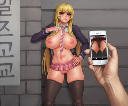 1girl areolae bangs bent_over black_legwear blonde_hair bloodcandy blush breasts exhibitionism huge_breasts looking_at_viewer microskirt nude open_mouth puffy_nipples spread_legs straddling through_hair uncensored