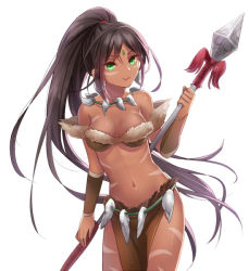 1girl brown_hair dark_skin fang_necklace forehead_jewel green_eyes hamamo league_of_legends long_hair looking_at_viewer midriff navel nidalee polearm ponytail solo spear tribal_tattoo weapon
