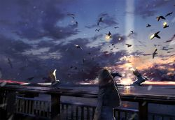 androgynous backpack bag bird blonde_hair bridge cloud coat commentary_request from_behind long_sleeves nasuno ocean original outdoors seagull short_hair snowing sunset