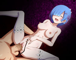 1boy 1girl :d blue_hair blush breasts censored circle_anco eyes_closed hair_ornament hair_over_one_eye hair_ribbon happy_sex large_penis lying missionary mosaic_censoring nipples nude on_back open_mouth penis pointless_censoring pussy sex short_hair smile solo_focus spread_legs testicles thighhighs thighs vaginal veiny_penis white_legwear