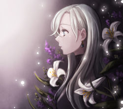 bangs black_bodysuit black_clothes blue_eyes bodysuit days_(milktea0778) earrings elizabeth_liones flower gradient gradient_background hair_over_one_eye jewelry lavender_(flower) lily_(flower) long_hair looking_to_the_side nanatsu_no_taizai parted_bangs parted_lips profile purple_flower silver_hair solo white_flower white_flowers