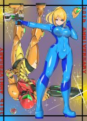 2girls anniversary arm_cannon armor blonde_hair blue_eyes bodysuit breasts covered_navel dual_persona erect_nipples female full_body gun haku_hakujou_daimaou hand_on_hip highres long_hair looking_at_viewer metroid metroid_(creature) mole mole_under_mouth multiple_girls nintendo outstretched_arm ponytail power_armor power_suit samus_aran shiny shoulder_pads skin_tight smile solo space_craft standing text upside-down varia_suit weapon zero_suit