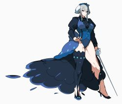 >:( 1girl bangs black_legwear black_shoes blue_eyes breasts closed_mouth full_body grey_hair hair_between_eyes high_heels highres holding holding_sword holding_weapon kz_609 legs leotard long_sleeves looking_away looking_to_the_side medium_breasts muscle muscular_female personification pokemon pokemon_(game) pokemon_sm puffy_long_sleeves puffy_sleeves rapier shoes short_hair showgirl_skirt sidelocks simple_background single_thighhigh solo standing sword thick_thighs thighhighs thighs weapon white_background wishiwashi