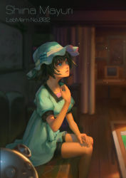 1girl absurdres bike_shorts black_hair blue_eyes character_name computer crt dress hat highres looking_up monitor renyu1012 shiina_mayuri short_hair sitting solo steins;gate table wooden_floor