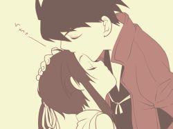 2boys age_difference close_eyes drifters forhead_kiss fujiwara_riyu hug kiss long_hair male_focus multiple_boys nasu_no_yoichi shimazu_toyohisa short_hair trap yaoi