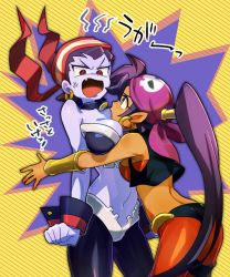 2girls anger_vein angry ass back bandanna bare_shoulders between_breasts bracer breast_hold breast_smother breasts clenched_hand dark_skin earrings embarrassed eye_contact fang female head_between_breasts highres hoop_earrings hug jewelry large_breasts looking_at_another midriff mogmog_(539jack) multiple_girls navel necklace open_mouth pale_skin pirate pointy_ears purple_hair purple_skin risky_boots shantae shantae_(character) shantae_(series) shantae_and_the_pirate's_curse short_hair shy standing stomach strapless tubetop very_long_hair vest yuri