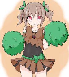 1girl brown_hair brown_skirt cheerleader covered_navel hair_ornament looking_at_viewer personification pokemon pom_poms red_eyes skirt smile solo standing sukoru trevenant