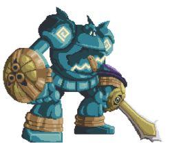 aegislash animated animated_gif golurk mecha no_humans pokemon pokemon_(game) robot shield sprite sword