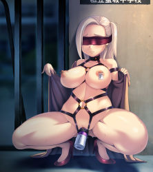 1girl areolae bdsm blindfold blush breasts clitoris_piercing collar harness high_heels kanisaka large_breasts long_hair navel nipple_piercing nipple_tag nipples object_insertion original piercing puffy_nipples pussy pussy_juice solo spread_legs squatting sweat uncensored vaginal vaginal_object_insertion vibrator white_hair