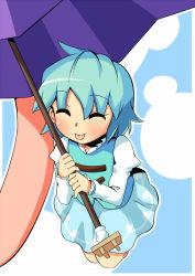 ^_^ blue_hair eyes_closed karakasa_obake moja4192 tatara_kogasa tongue tongue_out touhou umbrella