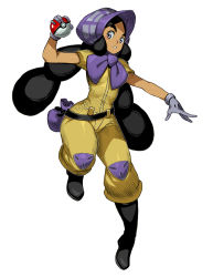 1girl belt black_boots black_hair blush_stickers bonnet boots bright_pupils closed_mouth dark_skin full_body genzoman gloves haapuu_(pokemon) holding holding_poke_ball jumpsuit long_hair nintendo poke_ball pokemon pokemon_(game) pokemon_sm puffy_short_sleeves puffy_sleeves purple_eyes purple_gloves short_sleeves simple_background standing thick_eyebrows twintails white_background
