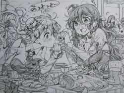 4girls akagi_(kantai_collection) alcohol bare_shoulders beer beer_mug blurry blush bottle capelet depth_of_field drink drinking drunk fish food fruit greyscale hair_between_eyes highres kaga_(kantai_collection) kantai_collection kojima_takeshi laughing leaning_forward lemon long_hair looking_at_another monochrome multiple_girls mushroom pola_(kantai_collection) pouring sake sake_bottle sketch straight_hair sushi table upper_body wavy_hair zara_(kantai_collection)