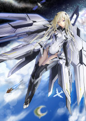 1girl airplane blonde_hair blue_eyes boots cloud covered_navel date_a_live ellen_mira_mathers floating flying full_body galaxy gloves highleg highleg_leotard iron_man island leotard light_smile long_hair marvel mecha_musume ocean power_armor satellite skin_tight space sturmjager thigh_boots thigh_gap thighhighs