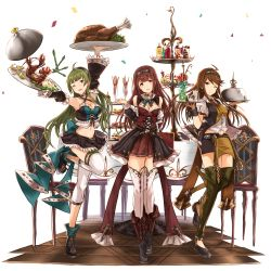 3girls ;d absurdres ahoge apple_slice arm_up bare_shoulders black_shoes black_skirt blush boots breasts brown_hair chair cheese collared_shirt crop_top cross-laced_footwear cup detached_sleeves drink eyebrows_visible_through_hair food fruit full_body green_hair hairband head_tilt highres ice ice_cube idolmaster idolmaster_million_live! knee_boots leg_up lemon lemon_slice lobster long_sleeves looking_at_viewer medium_breasts multiple_girls necktie one_eye_closed open_mouth outstretched_arm parted_lips purple_eyes red_necktie red_skirt shimabara_elena shirt shoes short_sleeves skirt smile standing standing_on_one_leg strawberry table tanaka_kotoha teacup thighhighs tokoro_megumi tray white_legwear white_shirt wing_collar yatsuka_(846)