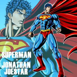 1boy blue_hair cape cosplay costume dc_comics high_contrast jojo_no_kimyou_na_bouken jonathan_joestar male parody solo spandex superhero superman superman_(cosplay) wahrheit zoom_layer
