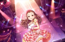 blush brown_hair dress idolmaster idolmaster_cinderella_girls idolmaster_cinderella_girls_starlight_stage long_hair official_art red_eyes seki_hiromi smile