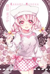 1girl :d alternate_hairstyle animal_hat bow braid character_name copyright_name cowboy_shot doily floral_background flower hat heart ie_(nyj1815) kaname_madoka looking_at_viewer mahou_shoujo_madoka_magica open_mouth pink_bow pink_eyes pink_hair polka_dot polka_dot_background polka_dot_skirt rose skirt smile solo sweater teeth twin_braids white_skirt white_sweater