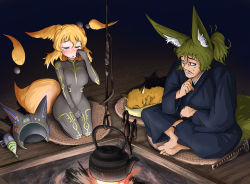 1boy 1girl absurdres animal_ears barefoot blonde_hair blue_kimono blush bodysuit breasts commentary_request cross-legged doitsuken energy_gun eyes_closed facial_hair fire fox fox_ears fox_tail grey_bodysuit hand_on_own_cheek headwear_removed helmet helmet_removed highres japanese_clothes kimono looking_at_another medium_breasts mustache orange_fur orange_hair original ponytail ray_gun science_fiction seiza short_hair sitting sweatdrop tail teapot tears time_travel weapon