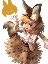 1girl 9to9 animal_ears bare_shoulders belt blonde_hair bow bowtie claw_pose commentary_request elbow_gloves eyebrows_visible_through_hair full_body gloves kemono_friends open_mouth personification serval_(kemono_friends) serval_ears serval_print serval_tail short_hair simple_background skirt smile solo tail white_background