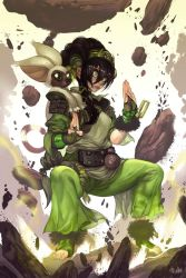 1girl avatar:_the_last_airbender avatar_(series) black_hair feet fighting_stance fingerless_gloves hector_enrique_sevilla_lujan highres lemur levitation momo_(avatar) rock solo toeless_legwear toes toph_bei_fong