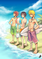 1girl 2boys absolum absolumterror axel axel_(kingdom_hearts) bag ball barefoot beach beachball bikini black_hair blonde_hair blue_eyes checkered facial_mark green_eyes grin hand_on_hip highres jewelry kingdom_hearts kingdom_hearts_358/2_days multiple_boys navel necklace parted_lips red_hair roxas sarong signature smile spiked_hair standing sunglasses sunglasses_on_head surfboard swim_trunks swimsuit thumbs_up topless water wristband xion_(kingdom_hearts) yellow_bikini